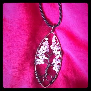 Jewelry - Rose Quartz Crystal Tree of Life Pendant (Unisex)